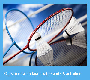 holiday cottages with badminton and sports activities