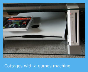 holiday cottages with a games machine such as a wii