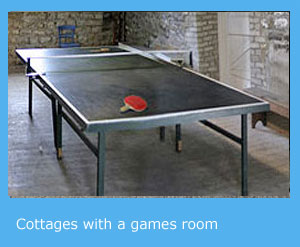 self catering holidays in cottages with a games room